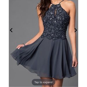 Silver beaded gray dress! New with tags!